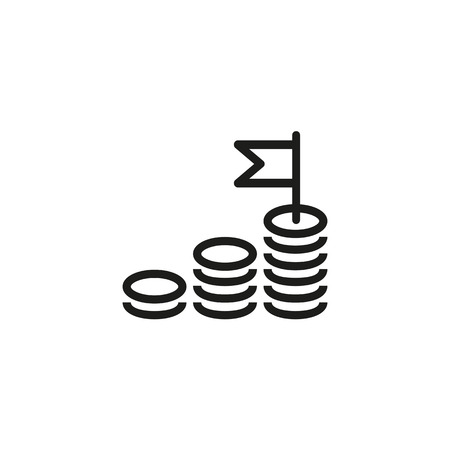 Money gain line icon. Cash, growth diagram, winner flag. Investment concept. Vector illustration can be used for income, revenue, profit, increase