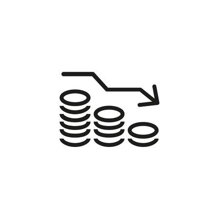 Icono de línea de reducción de dinero. Pilas de monedas, efectivo, gráfico, flecha hacia abajo. Concepto de inversión. La ilustración vectorial se puede utilizar para pérdidas financieras, deudas, recesión. Ilustración de vector