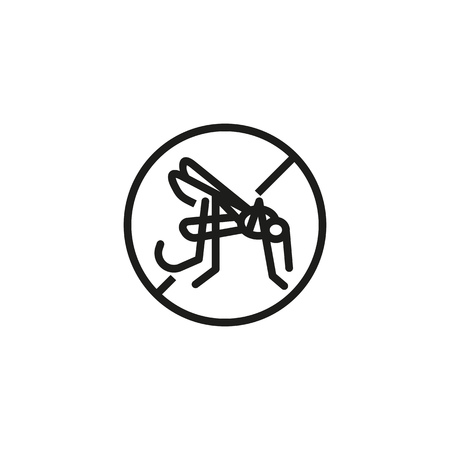 Repellent line icon. Mosquito and prohibiting sign. Fever concept. Vector illustration can be used for protection, preventing, safety precaution Illustration