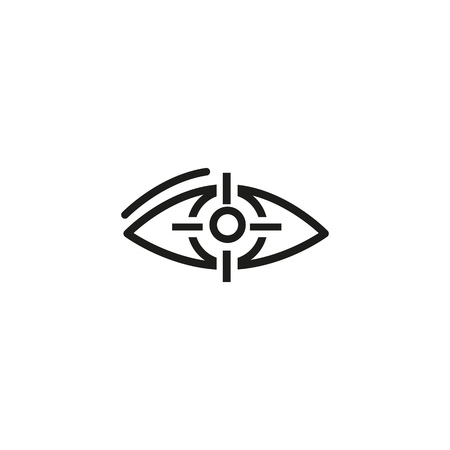 Target eye line icon. Eye bulb and optical focus on pupil. Target concept. Vector illustration can be used for vision, challenge, business, strategy Ilustração