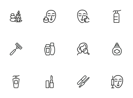 Skin care line icon set. Injection, lipstick, manicure. Beautician concept. Can be used for topics like beauty salon, makeup, cosmetology 向量圖像