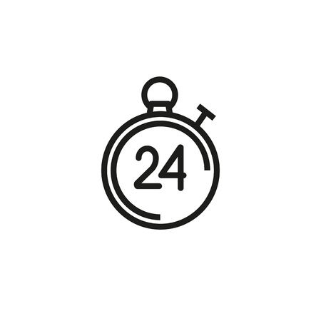 Stopwatch line icon. Office work, every day, hurry up. Time concept. Vector illustration can be used for topics like time management, work life, daily routine