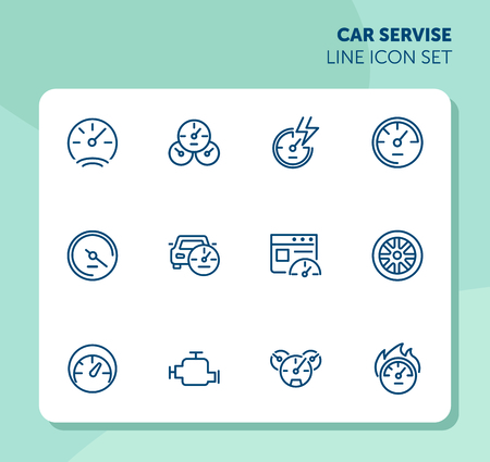 Car service line icon set. Set of line icons on white background. Motor, wheel, speedometer. Automobile concept. Vector illustration can be used for topics like auto service, car details, speed Stock Illustratie