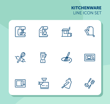 Kitchenware line icon set. Set of line icons on white background. Mixer, oven, knife. Cooking concept. Vector illustration can be used for topics like home, food, cooking