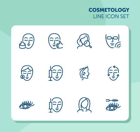 Cosmetology line icon set. injection, solarium, mascara. Beauty concept. Can be used for topics like dermatology, skin care, aesthetics Archivio Fotografico - 120805407