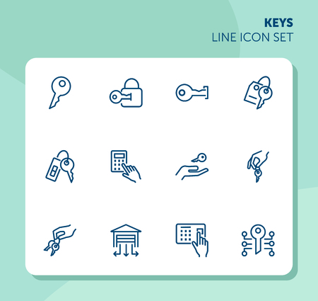 Keys line icon set. Set line icons on white background. Key, lock, access, enter. Security concept. Vector illustration can be used for topics like home, private, safety
