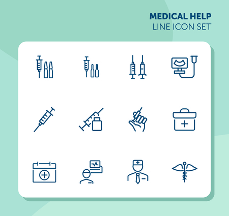 Medical help line icon set. Syringe, injection, doctor, first aid kit. Medicine concept. Can be used for topics like hospital, therapy, treatment Stock Illustratie