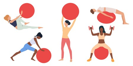 Set of women exercising with swiss balls. Crowd of multiethnic girls doing fitness. Vector illustration can be used for presentation, training, sports equipment