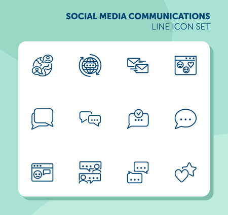 Social media communications line icon set. Set of line icons on white background. Chatting, message, typing. Internet concept. Vector illustration can be used for topics like web, communication