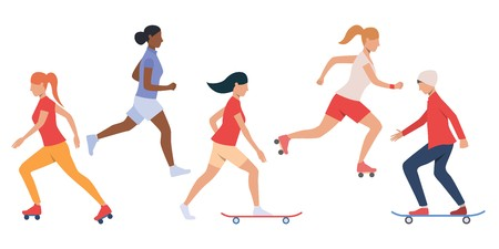 Set of teens skateboarding and rollerblading. Multiethnic girls and boy doing outdoor activities. Vector illustration can be used for presentation, brochure, leisure