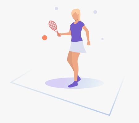 Woman holding racket and playing tennis. Activity, workout, lifestyle concept. Can be used for topics like sport, leisure, health