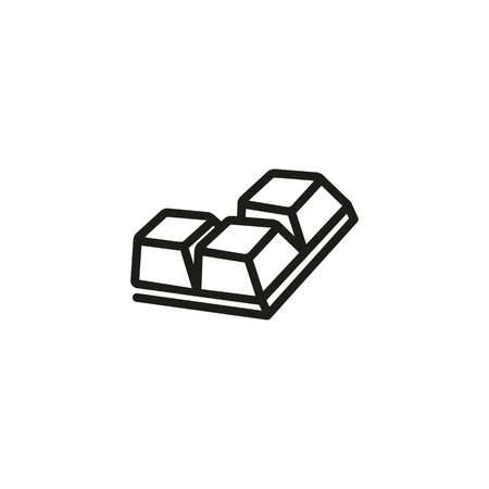 Three chocolate segments line icon. Cacao, portion, candy. Snack concept. Can be used for topics like gourmet, taste, dessert Иллюстрация