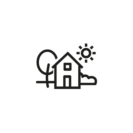 Village line icon. Environment, tree, house, holiday. Farm concept. Can be used for topics like countryside, home, non-urban scene
