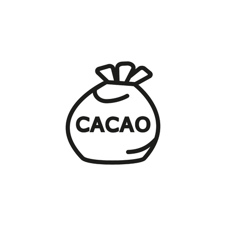 Cacao bag line icon. Sack, ingredient, chocolate. Organic product concept.