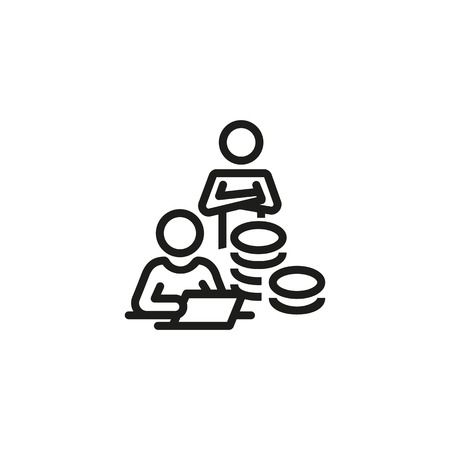 Credit agent line icon. Counting money, teamwork, investment. Mortgage concept. Can be used for topics like business consultant, contract Illustration