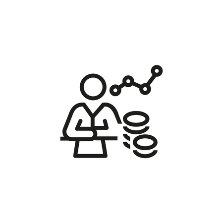Financial specialist line icon. Money, graph, planning. Analyzing sales concept. Can be used for topics like company, analysis, advisor