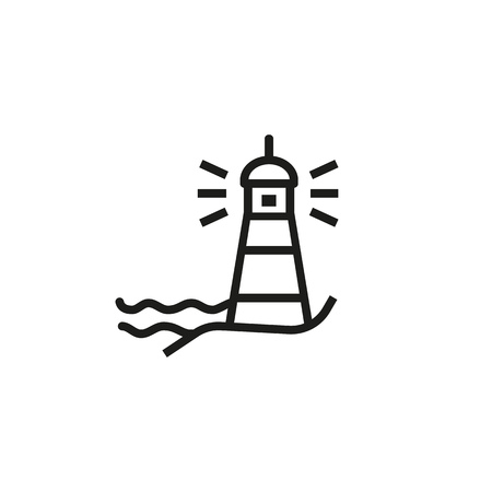Lighthouse line icon. Direction, light, sea. Signal concept. Can be used for topics like guide, adventure, navigation Ilustração