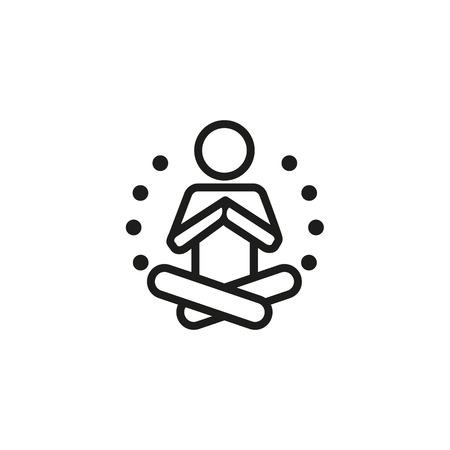 Icono de línea de meditación. Yogi, posición de loto, ejercicio. Concepto de yoga. Puede usarse para temas como deporte, chakra, equilibrio.