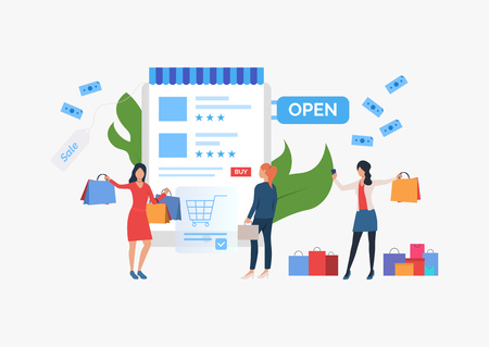 Shopping sale slide template presentation. Three girls standing before supermarket. Choosing goods on Internet concept. Vector illustration can be used for topics like sale, shopping, promotion Vectores