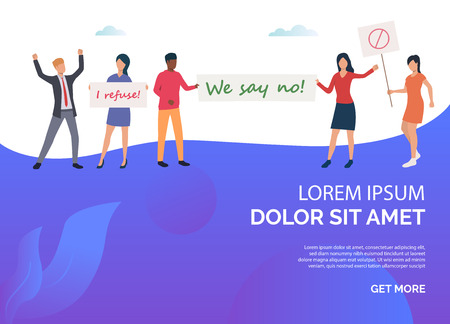 Blue feminism slide rights template. Womans holding big banners with inscripiton. Protest concept Vector illustration can be used for topics like presentation, sociality, activity