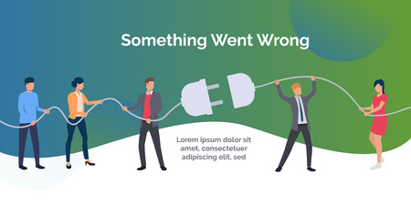 Something went wrong green slide template presentation. People holding electric socket. Teamwork concept. Vector illustration can be used for topics like computer, connection, modern technology system Иллюстрация