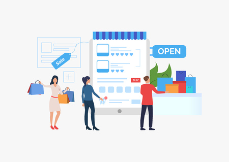 White sale slide template presentation. People standing before supermarket. Mobile app of internet store concept. Vector illustration can be used for topics like sale, shopping, promotion