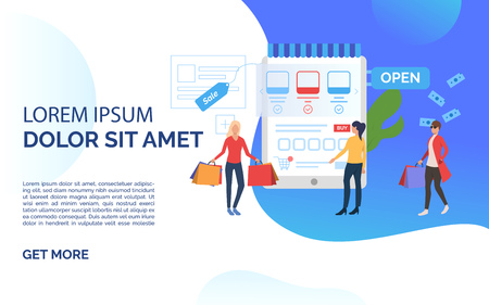 Sale slide template blue presentation. People standing before supermarket. Buying online concept. Vector illustration can be used for topics like sale, shopping, promotion Çizim