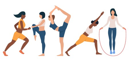 Collection of slim women training. Bundle of young multiethnic ladies stretching and exercising. Vector illustration of flat cartoon characters can be used for promo, gym, presentation