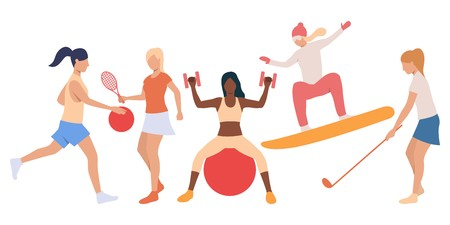 Set of active ladies doing sport. Flat cartoon female characters on white backgrounds. Vector illustration can be used for presentation, slide show, training  イラスト・ベクター素材