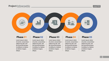 Sequence of five phases template. Business data. Graph, chart, design. Creative concept for infographic, report. Can be used for topics like marketing, economics, development Illustration