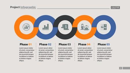 Volgorde van vijf fasen sjabloon. Zakelijke gegevens. Grafiek, grafiek, ontwerp. Creatief concept voor infographic, rapport. Kan worden gebruikt voor onderwerpen als marketing, economie, ontwikkeling Vector Illustratie