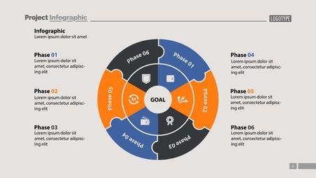 Sechs Sektoren verarbeiten Diagrammfolienvorlage. Geschäftsdaten. Struktur, Kreis, Design. Konzept für Infografik, Präsentation, Bericht. Kann für Themen wie Marketing, Rekrutierung, Analytik verwendet werden