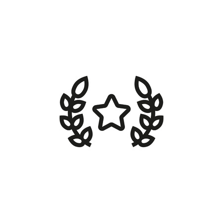 Award line icon. Star and laurel branches. Success concept. Vector illustration can be used for topics like win, triumph, prize, trophy