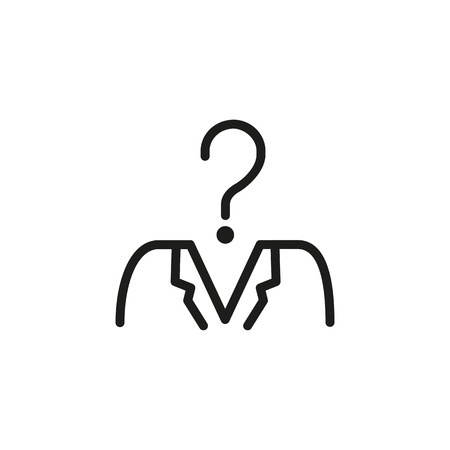 Employee research line icon. Worker with question mark instead head. Human resource concept. Vector illustration can be used for topics like recruitment, head hunting, candidate selection
