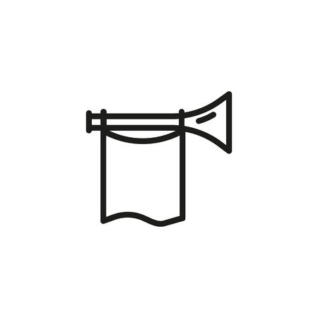 Fanfare line icon. Horn, flag, announcement. Success concept. Vector illustration can be used for topics like win, announcing, news, leadership