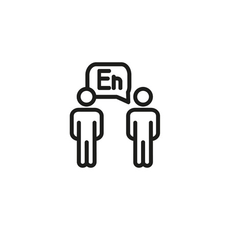 Foreign language exchange line icon. Two people, dialogue, conversation. Language learning concept. Vector illustration can be used for topics like training, course, communication