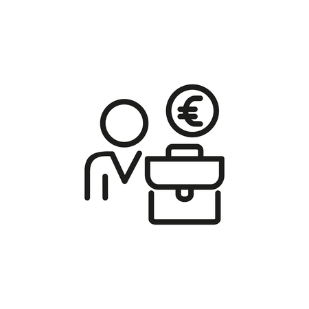 Head hunter line icon. Person, briefcase and money. Human resource concept. Vector illustration can be used for topics like recruitment agent, manager, HR