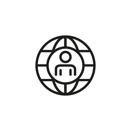Head hunting line icon. Person, planet, globe, world, pic. Human resource concept. Vector illustration can be used for topics like global recruitment, agency, networking Ilustrace