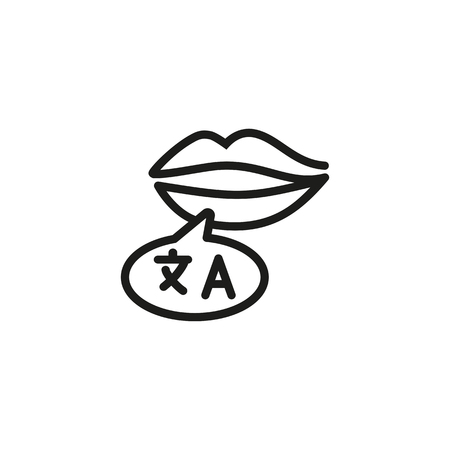 Language speaker line icon. Lips with speech bubble, bilingual, interpreter. Foreign language concept. Vector illustration can be used for topics like speaking, communication, two languages Illustration