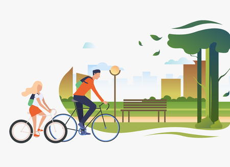 Dad and daughter riding bicycles, city park with tree and bench. Holiday, lifestyle, summer concept. Vector illustration can be used for topics like leisure, family, nature  イラスト・ベクター素材