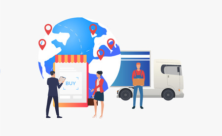 Earth globe with pointers, truck and retailers. Transportation, vehicle, freight concept. Vector illustration can be used for topics like business, logistics, international delivery