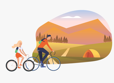 Father and daughter riding bicycles, landscape with tent. Holiday, tourism, summer concept. Vector illustration can be used for topics like leisure, family, nature