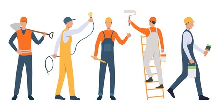 Set of modern workers repairing house. Group of skilled repairmen at work. Vector illustration for housing project, presentation, remodeling