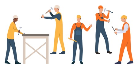 Set of workmen in hardhats. Cartoon male characters using hammers on white backgrounds. Vector illustration can be used for presentation, housing project, renovation