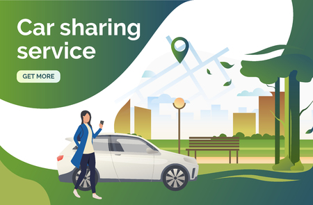 Car sharing service lettering, car, woman, city park, pointer on map. Transport, vehicle concept. Presentation slide template. Vector illustration for topics like business, navigation, transportation Stockfoto - 122805264