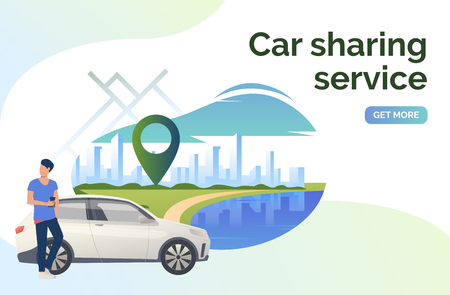 Car sharing service lettering, man, car and cityscape. Transport, vehicle concept. Presentation slide template. Vector illustration can be used for topics like business, navigation, transportation Иллюстрация