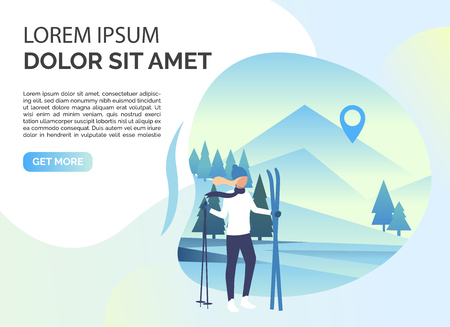 Skier woman, snowy landscape and sample text. Tourism, winter, leisure concept. Presentation slide template. Vector illustration for topics like vacation, nature, sport