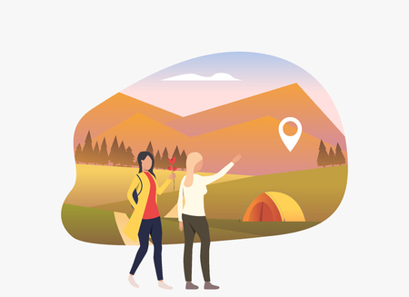 Two woman walking, landscape with tent and pointer. Tourism, holiday, leisure concept. Vector illustration can be used for topics like vacation, nature, ecology
