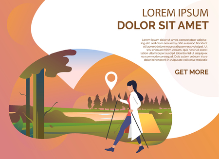Woman pole walking, summer landscape and sample text. Tourism, holiday, recreation concept. Presentation slide template. Vector illustration for topics like vacation, nature, sport Illustration