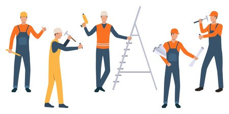 Collection of building workers doing repair. Group of modern engineers in blue and orange workwear. Colorful vector illustration for presentation, construction, new project Ilustrace